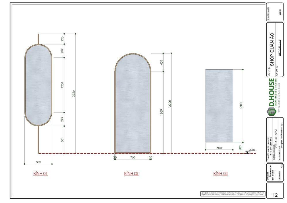 bảng triển khai tấm gương  công trình shop quần áo