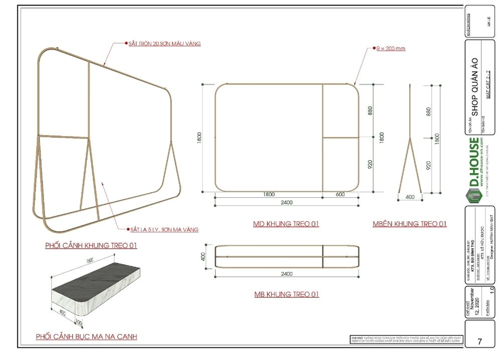 bảng triển khai kệ treo áo công trình shop quần áo