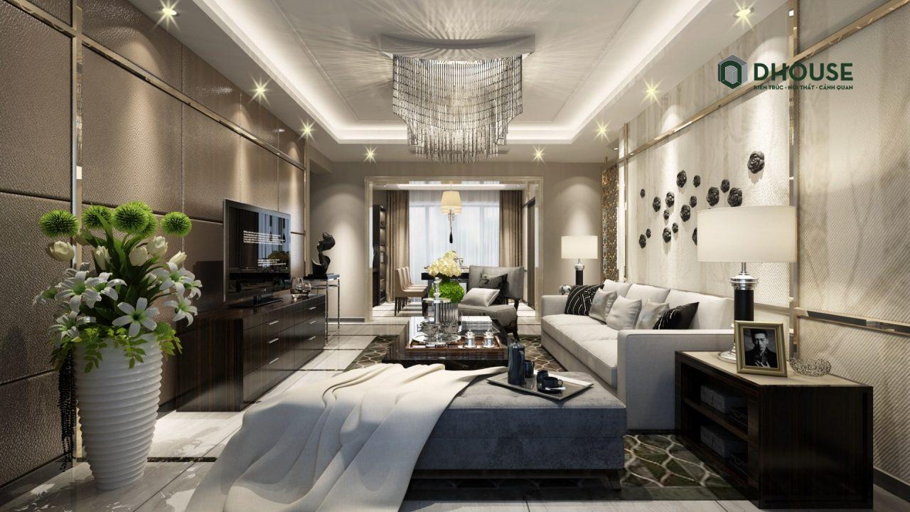 Mẫu thiết kế nội thất phòng khách căn hộ   Phong cách nội thất luxury