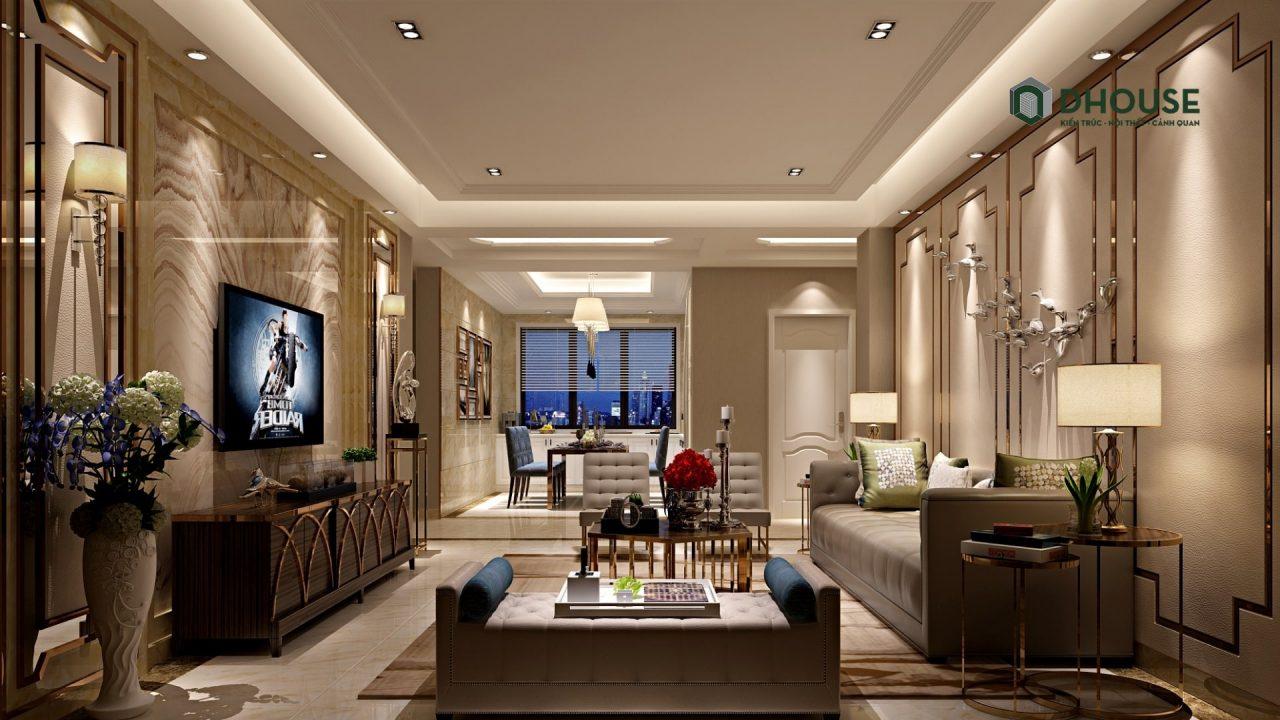 nội thất phòng khách bán cổ điển